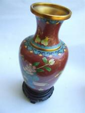 Beautiful Carved Chinese Oriental Wooden Stand Suit Ginger Jar Cloisonne Vase 11.5cm Antiques