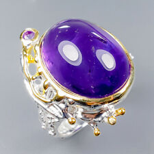 Vintage SET Natural Amethyst 925 Sterling Silver Ring Size 9/R121748