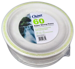 60 Plates Chinet 24cm Super Strong Disposable Paper Wedding / Party Functions Gr