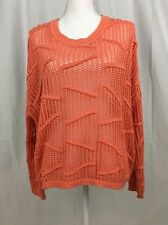 Womens size M Sparkle and Fade Open Knit Long Sleeve top orange cream