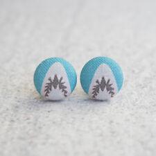 Shark Attack Fabric Button Earrings