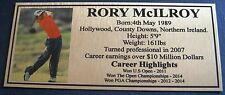 Golf RORY McILROY Gold Sublimated Plaque f/post