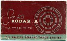 Kodak A Six 20 6-20 Camera Instruction Manual, 1950s, More Guide Books Listed