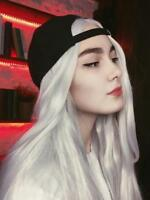 US White Blonde Wig Long Straight Lace Front Wig Heat Resistant Synthetic Hair