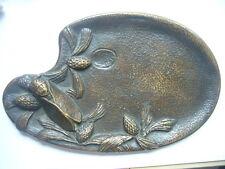 Vide-poche cendrier ancien Art Nouveau cigale pommes de pin signé Sertorio