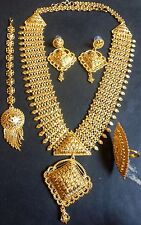 12'' Long 22K Gold Plated Fashion Necklace Earrings South Indian Wedding Set 7