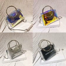 Women Clear Transparent Mini Tote Hologram Handbag Purse Laser Holographic Bag