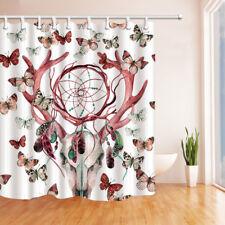 Christmas Reindeer Head And Butterfly Waterproof Fabric Bathroom Shower Curtain