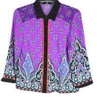 Nanette Lepore Multi-Colored Silk Geometric Button Down Blouse Sz 4 Black Purple