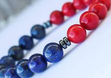8mm Lapis Lazuli & Red Coral  - Mens Bracelet, Womens Bracelet, Handmade Bracele