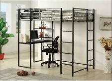 Student Loft Bed Frame with Desk for Kids Teens Adults Full Size Bunk Beds Black