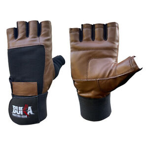 BUKA™  Real Leather Padded Gym Gloves Fitness Weightlifting Training Long Wrist