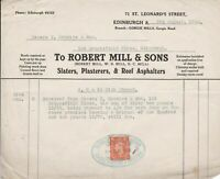 Robert Mill & Sons Leonards St Edinburgh Roof Asphalters Stamp Receipt Ref 38842