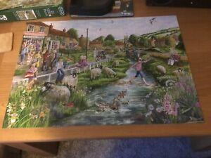 Falcon de luxe 11216 - 2x 1000 pc Jigsaw Puzzle Village Life. One piece missing