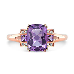 Amethyst Diamond Step Three Stone Ring 14K Rose Gold Cushion Princess Round