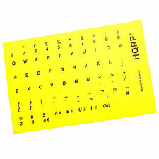 New USA UK QWERTY Keyboard Stickers with Black Lettering on Yellow Background