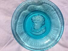 "ANTIQUE "" ABC  VICTORIAN CHILD""  BLUE GLASS  CHILD'S  PLATE 1893 - BRYCE  HIGBEE"