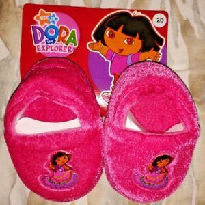 Dora The Explorer Toddler Girls Dark Pink Velvet Bootie Slippers