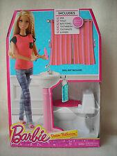 Mattel Barbie Dollhouse Bathroom Furniture Toilet & Sink Play Set w/Access. NEW
