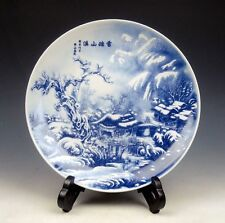 Blue&White Gorgeous Snow Scenery Hand Painted Porcelain Plate w/ Stand #122713