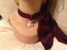 *NEW* GUCCI Womens Purple Crest Silk Scarf Detachable Gold Gucci Crest Charm