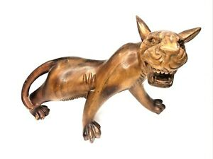 """Vintage Wood Carved Jaguar or Panther Animal Approx 14"""" Long x 11"""" tall x 9"""" wid"""