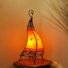Marokkanische Leder-Stehleuchte Hennalampe Leterne Lederlampe CANAR Orange H58cm