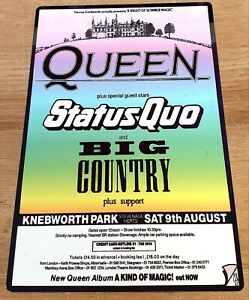 QUEEN STATUS QUO BIG COUNTRY 1986 KNEBWORTH PARK 12X8 METAL POSTER SIGN