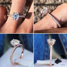 Round Cubic Zirconia Ring Lady Jewelry Fashion Wedding Rose Gold Plated Oval