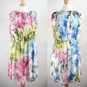 Womens COAST Tie dye Skater Dress Pleated SIZE UK 12 Sleeveless Colourful Flared