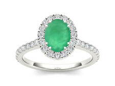 925 Sterling Silver Ring Halo Natural Emerald Size 4 to 11
