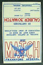 1957 National Match Frankford Arsenal M1 Garand .30 CAL Ammo Box Label Original