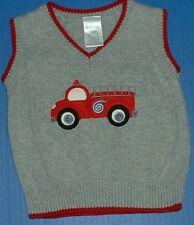 Gymboree Boys Classic Holiday Fire Truck V Neck Gray Cotton Sweater Vest 6-12M