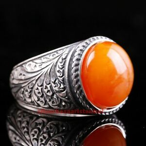 Turkish Handmade 925 Sterling Silver Amber stone Mens Special ring ALL SİZE