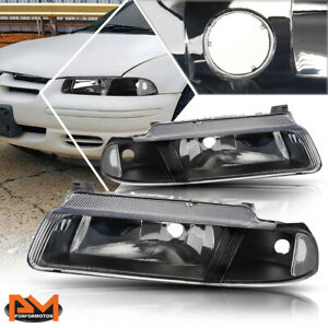 For 95-00 Chrysler Cirrus/Dodge Stratus Headlight/Lamp Black Housing Clear Side