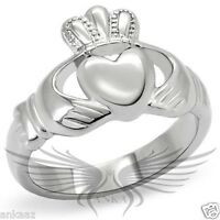 Women's Stainless Steel Heart Shaped Irish Claddagh Ring No Stone TK160