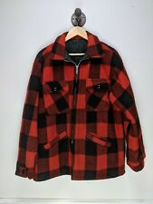 VTG Wool Hunting Jacket BUFFALO PLAID Lumberjack Coat RED BLACK CHECK LINING