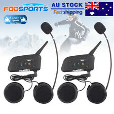 2x 1200M Motorcycle Intercom 6 Riders Communication BT Helmet Headset Bluetooth