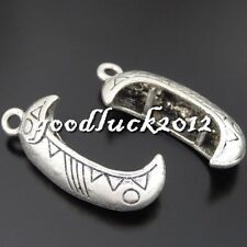 50554 Antique Silver Alloy Canoe Moon Boat Pendants Charms Crafts Findings 8x