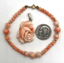 Carved Peach Coral Rose & Bead Bracelet w/14k Gold Clasp