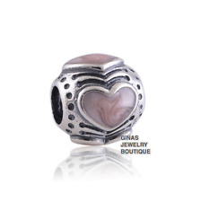 Authentic.925 Solid Sterling European Charm Fit PAN BRACELET PINK ENAMEL HEARTS