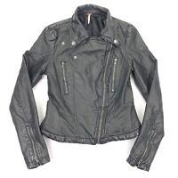 Free People Women's Moto Faux Vegan Leather Jacket Black • Size 0