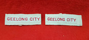 GEELONG CITY FIRE BRIGADE EPAULETTE EMBROIDERED BADGES PAIR