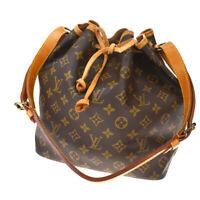 Auth LOUIS VUITTON Petit Noe Shoulder Bag Monogram Leather Brown M42226 35MD831