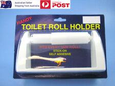 New Self Adhesive Stick On Plastic Paper Toilet Roll Holder Rack 16.6cm White