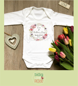 Personalised 1st Mother's Day Baby Grow Vest Romper Sleepsuit First Floral Gift