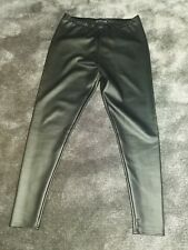 LADIES GIRLS BLACK SKINNY FAUX LEATHER PU TROUSERS JEGGINGS SIZE  14