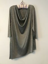 Ladies Black and Silver Cowl Neck Blouse Shirt  BNWT RRP $39.95 CROSSROADS 18