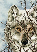 Dimensions - Counted Gold Cross Stitch Kit - Wolf - in Snow - D70-65131