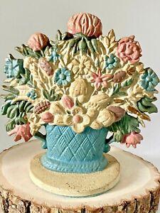 Vintage Hand Painted Cast Iron Pastel Flower Basket Door Stop Pink, Blue Cream
